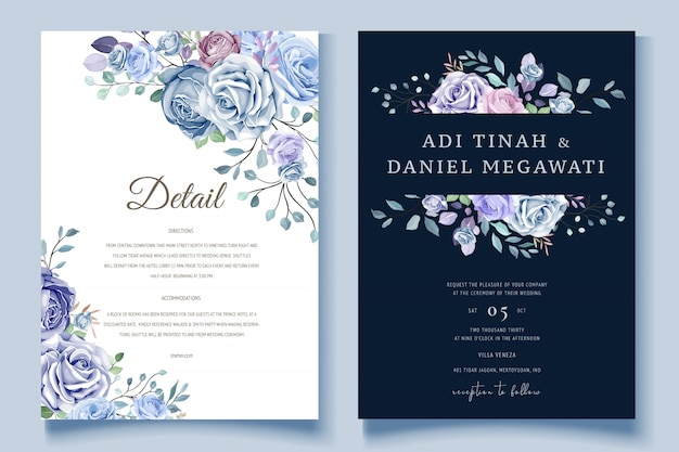 Colorful floral wedding invitation