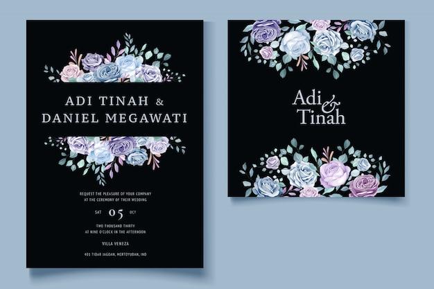 화려한 꽃 결혼 초대장