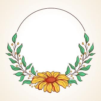 葉とベリーのラウンドフレームとカラフルなフローラルリース結婚式の招待状やグリーティングカード用