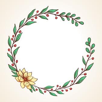 잎과 열매와 화려한 꽃 화환 결혼식 초대장 및 인사말 카드 라운드 프레임