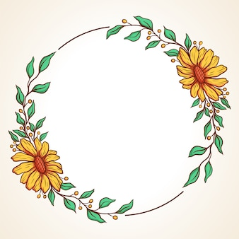 Colorful floral wreath with leaves and berries round frame for wedding invitations and  greeting cards