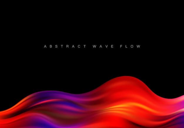 Красочный плакат потока. форма волны жидкости в черном цвете фона. вектор eps10