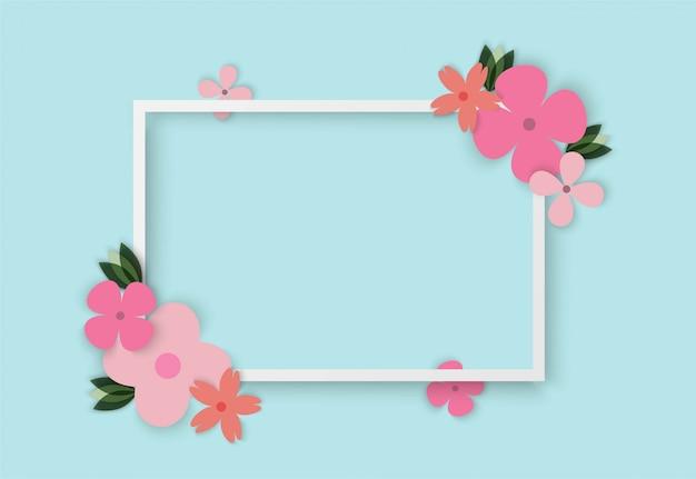 Красочные цветы с квадратной рамкой