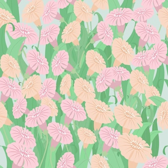 カラフルな花と葉のパターン。