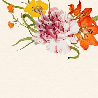 パブリックドメインのアートワークからリミックスされたデザインスペースとカラフルな花の背景イラスト