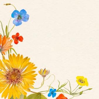 Illustrazione di sfondo di fiori colorati con spazio di progettazione, remixata da opere d'arte di pubblico dominio
