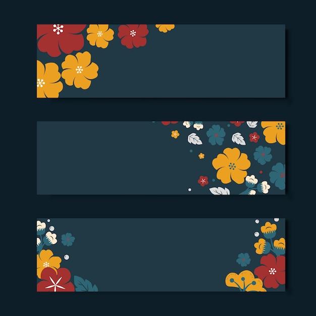 화려한 꽃 카드 템플릿 세트