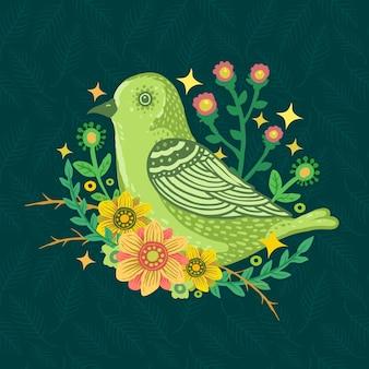 Colorful flower leaf cute bird pattern background