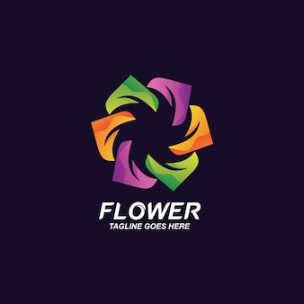 カラフルな花のロゴ