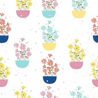 Colorful  flower pots seamless pattern background