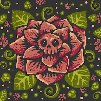 Colorful flower skull pattern backround illustration