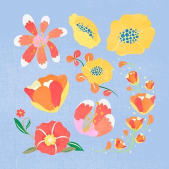 カラフルな花、春のクリップアートフラットデザインベクトルイラスト