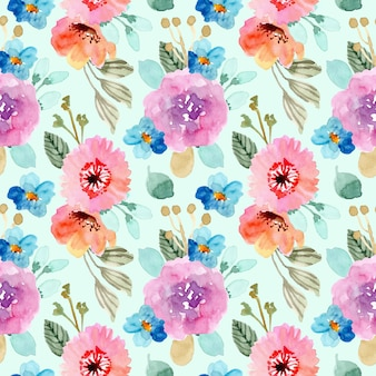 Colorful flower watercolor seamless pattern