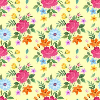 Colorful flower on yellow background pattern vector design