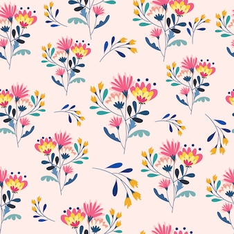 Colorful flower and yellow flower seamless pattern