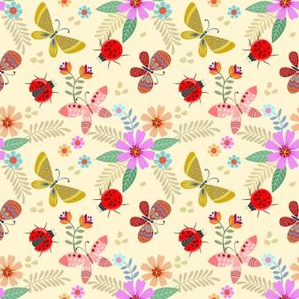 色とりどりの花と昆虫のシームレスパターン。
