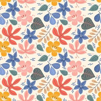カラフルな花と葉のシームレスなパターン。このパターンは、ファブリックテキスタイルの壁紙に使用できます。