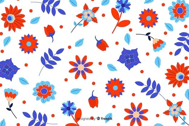 Colorful flowers background flat style