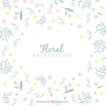 Colorful flowers background in hand drawn style