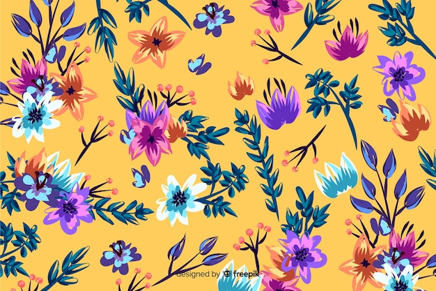 Colorful flowers background painted style
