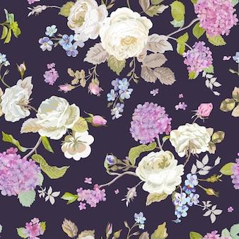 カラフルな花の背景-シームレスな花のぼろぼろのシックなパターン
