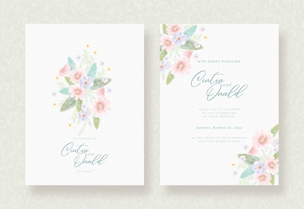 Colorful flowers background on wedding card
