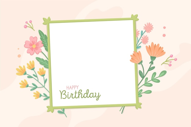 Colorful flowers birthday frame