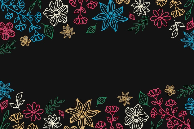 Colorful flowers on blackboard background
