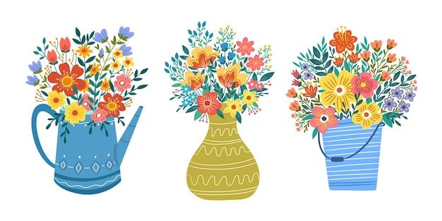 Букет красочных цветов в лейке горшок ведро