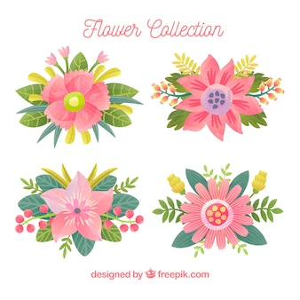Colorful flowers collection in hand drawn style