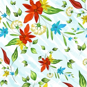 Colorful flowers decorated seamless pattern background.