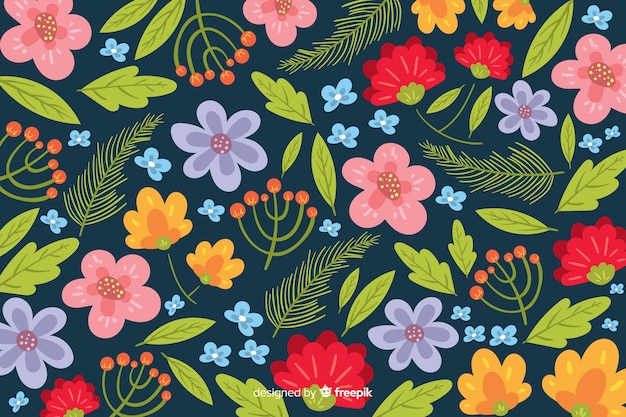 Colorful flowers decorative background flat style