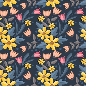 Colorful flowers design seamless pattern for fabric textile wallpaper.