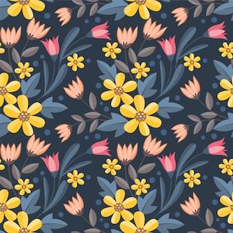 カラフルな花は、ファブリックテキスタイルの壁紙のシームレスなパターンをデザインします。