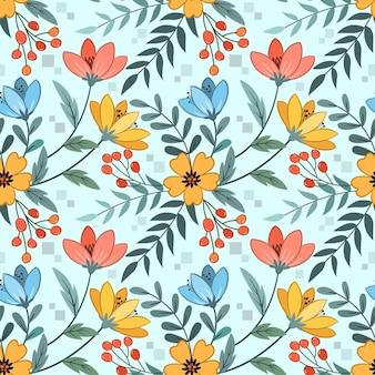 Красочные цветы дизайн бесшовные модели для тканевых текстильных обоев.