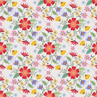 Colorful flowers design seamless pattern