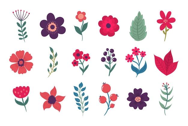 白い背景の上のフラットスタイルの漫画のカラフルな花