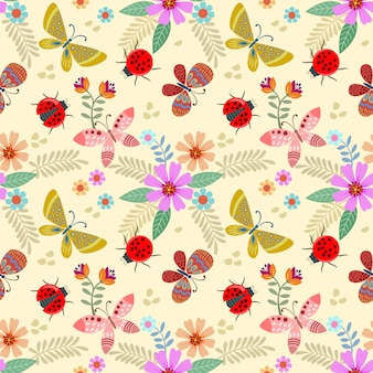 Colorful flowers and insect seamless pattern.