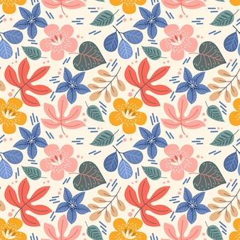 Colorful flowers and leaf seamless pattern. this pattern can be use for fabric textile wallpaper.