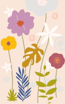 Colorful flowers and leaves background