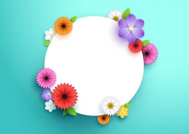 Colorful flowers and leaves dotted around 3d white circle