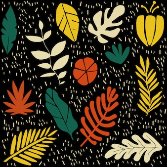 Colorful flowers and leaves poster background