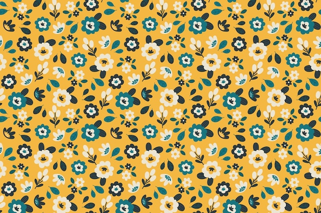 黄色の背景に色とりどりの花