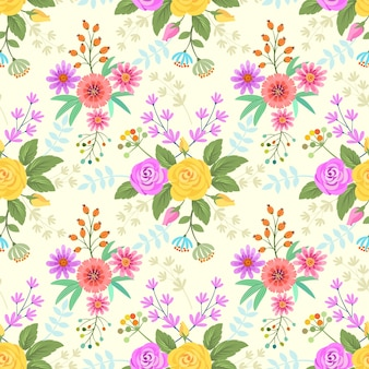 Colorful flowers pattern fabric background.