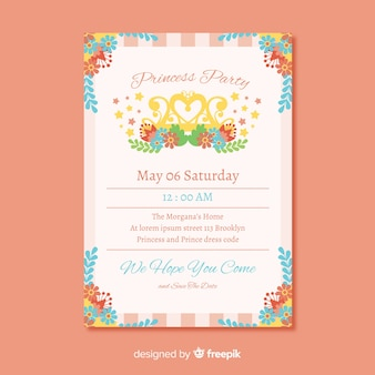 Colorful flowers princess party invitation template