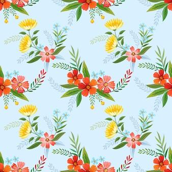 カラフルな花のシームレスなパターンのファブリック繊維、壁紙、背景。