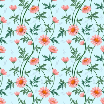 Colorful flowers seamless pattern fabric textile.