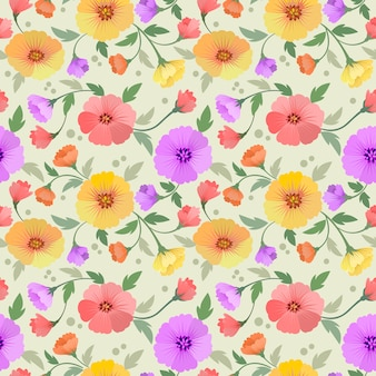 色とりどりの花のシームレスなパターン生地の繊維。