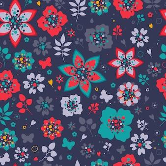 色とりどりの花のシームレスなパターン。花の背景。