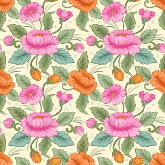 色とりどりの花のシームレスなパターンベクトル